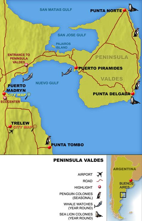 Localização: há voos do Brasil a Trelew e Puerto Madryn (via Buenos Aires)